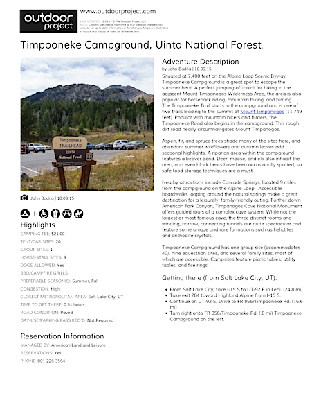 Timpooneke Campground Field Guide