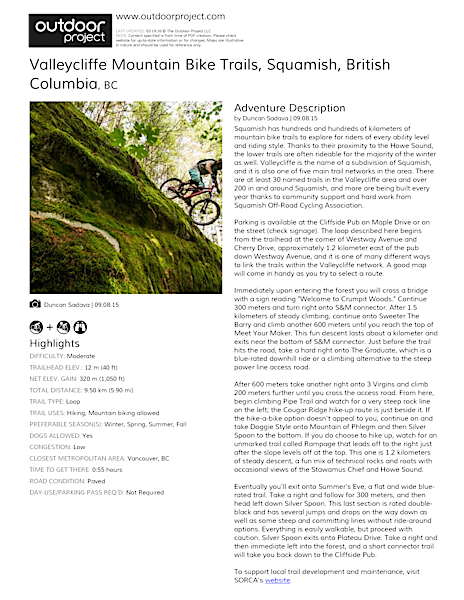 Valleycliffe Mountain Bike Trails Field Guide