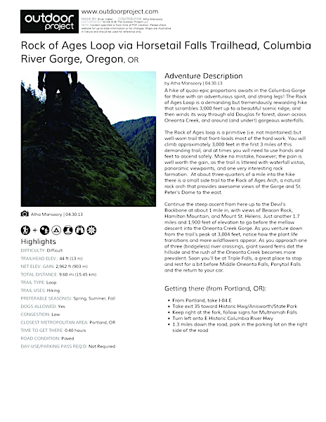 Rock of Ages Loop via Horsetail Falls Trailhead Field Guide