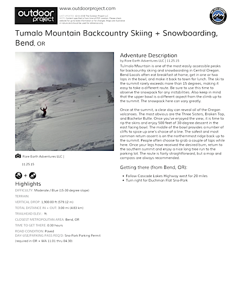 Tumalo Mountain Backcountry Skiing + Snowboarding Field Guide
