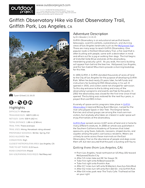 Griffith Observatory Hike via East Observatory Trail Trail Map