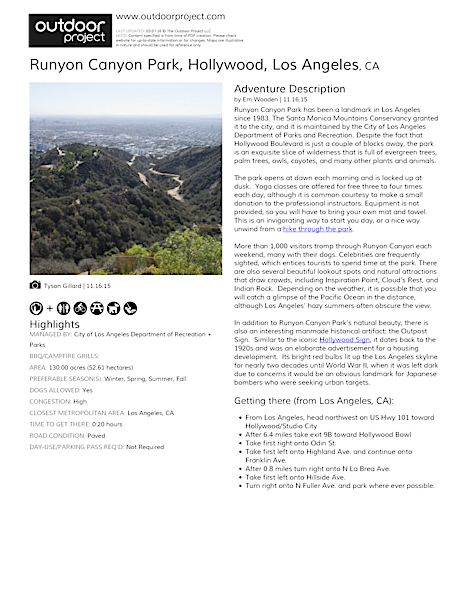Runyon Canyon Park | Outdoor Project