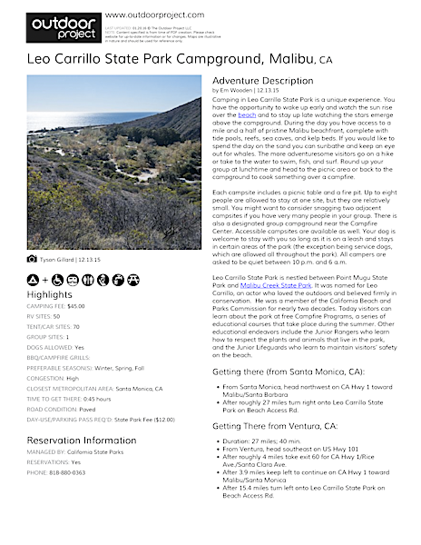 Leo Carrillo State Park Campground Field Guide