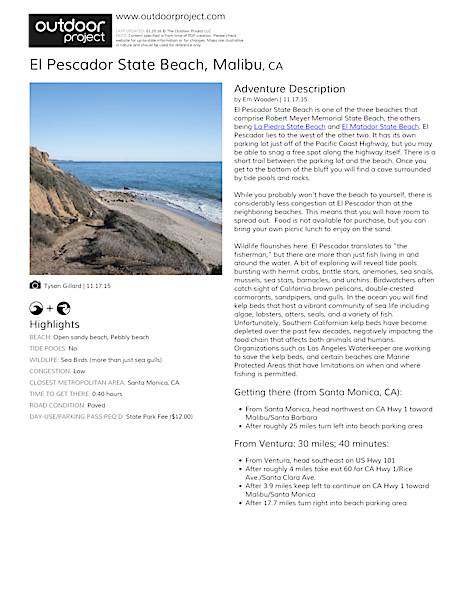 El Pescador State Beach Field Guide