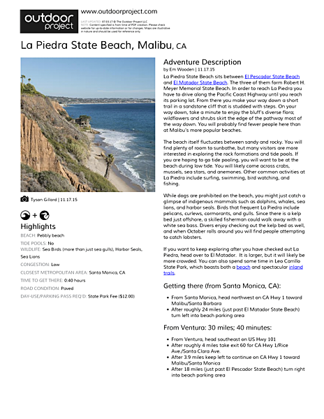 La Piedra State Beach Field Guide