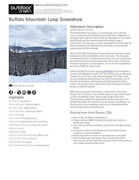 Buffalo Mountain Loop Snowshoe Field Guide