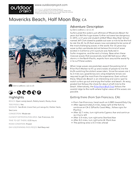 Mavericks Beach Field Guide