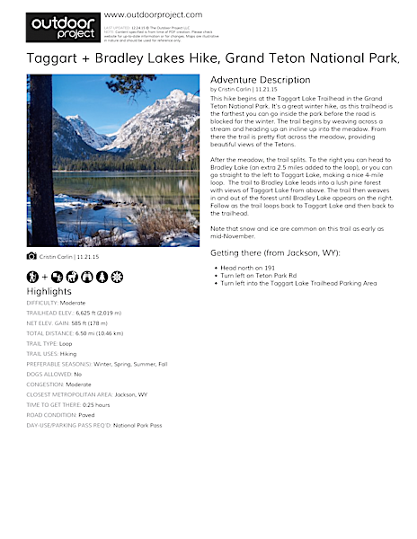 Taggart + Bradley Lakes Hike Field Guide