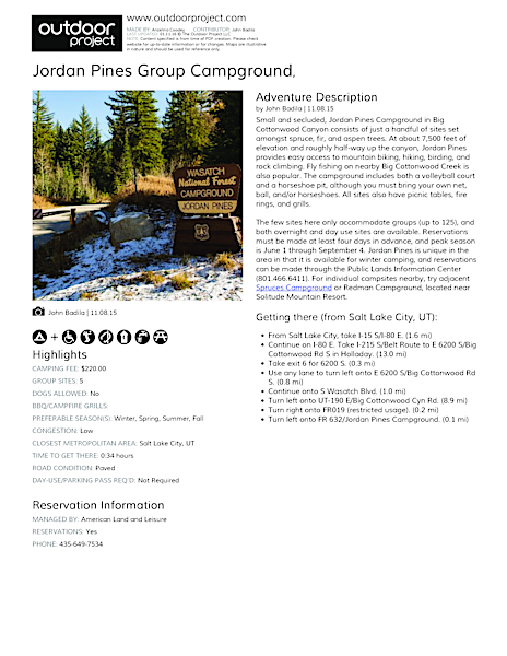 Jordan Pines Group Campground Field Guide