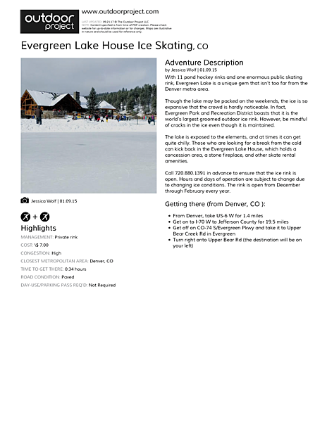 Evergreen Lake House Ice Skating Field Guide
