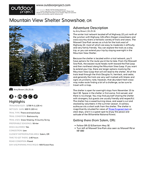 Mountain View Shelter Snowshoe Field Guide