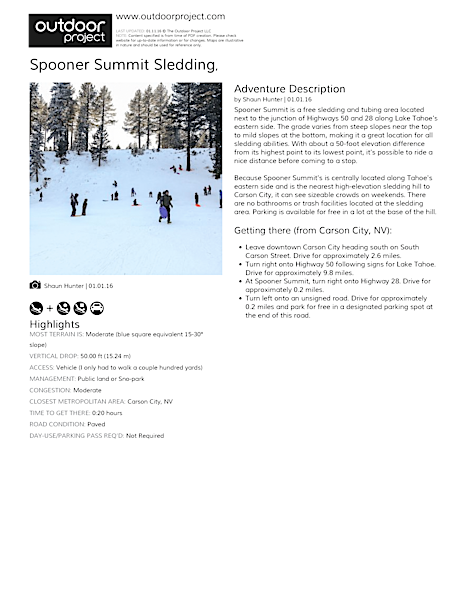 Spooner Summit Sledding Field Guide