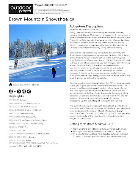 Brown Mountain Snowshoe Field Guide