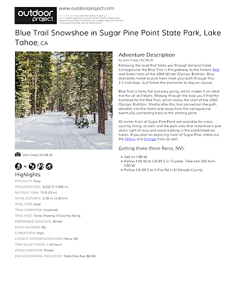 Blue Trail Snowshoe in Sugar Pine Point State Park Field Guide