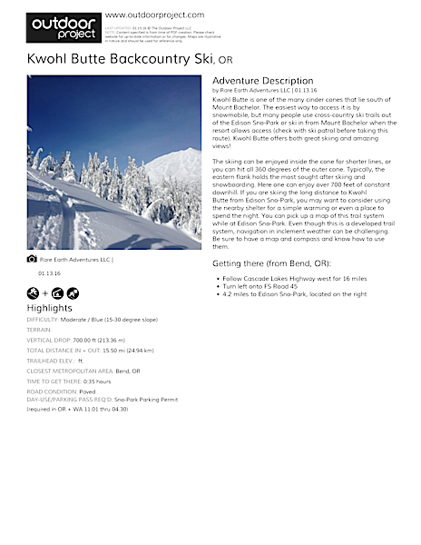 Kwohl Butte Backcountry Ski Field Guide