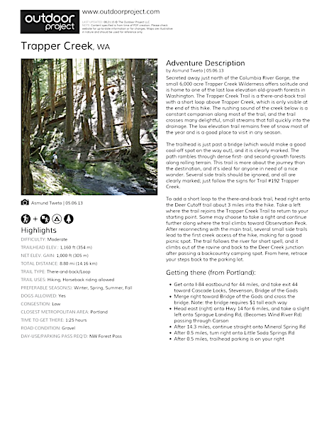Trapper Creek Field Guide