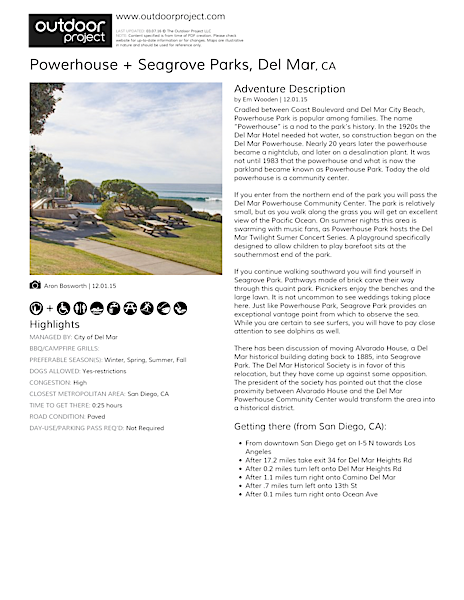 Powerhouse + Seagrove Parks Field Guide