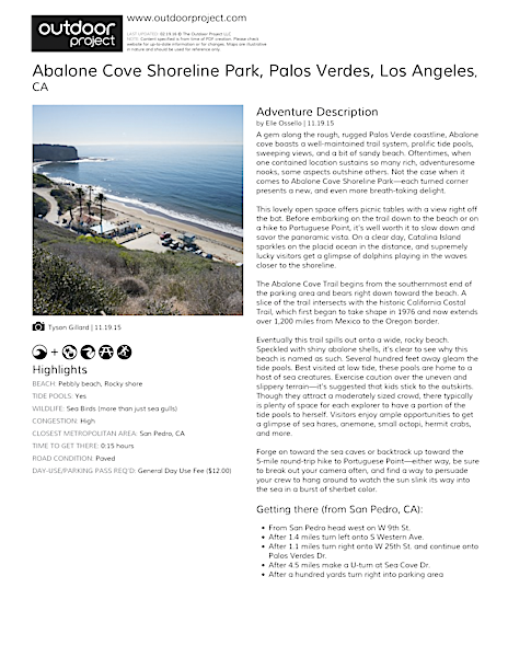 Abalone Cove Shoreline Park Field Guide