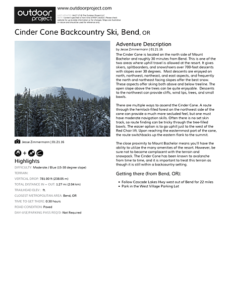 Cinder Cone Backcountry Ski Field Guide