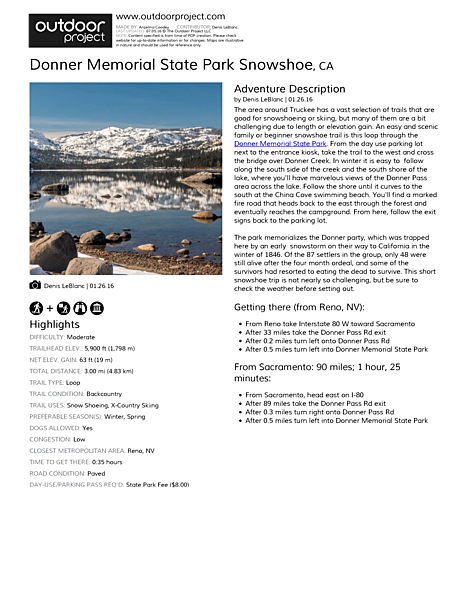 Donner Memorial State Park Snowshoe Field Guide