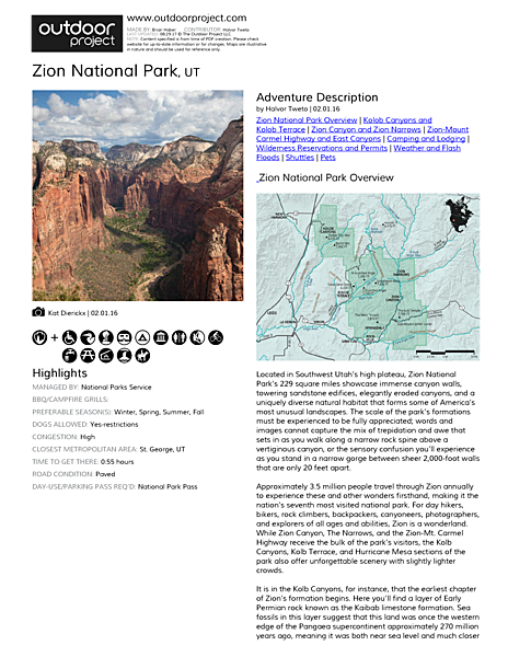 Zion National Park Field Guide