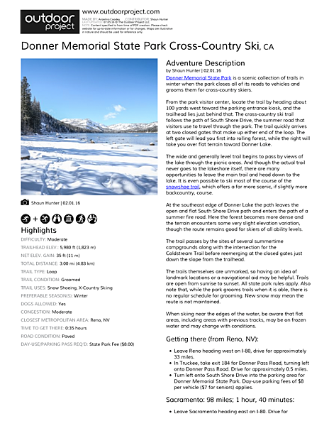 Donner Memorial State Park Cross-Country Ski Field Guide