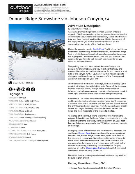 Donner Ridge Snowshoe via Johnson Canyon Field Guide