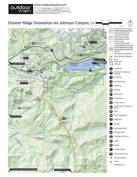Donner Ridge Snowshoe via Johnson Canyon Map