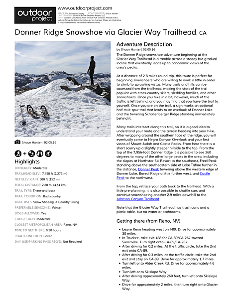 Donner Ridge Snowshoe via Glacier Way Trailhead Field Guide