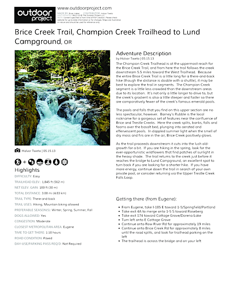 Brice Creek Trail, Champion Creek Trailhead to Lund Campground Hike Field Guide