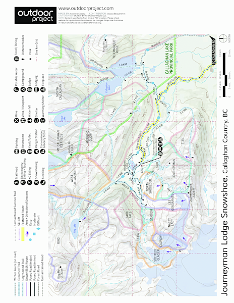 Journeyman Lodge Snowshoe, Callaghan Country Map