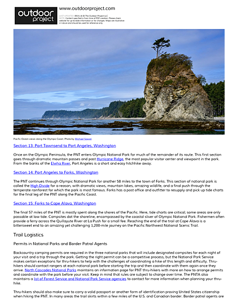 Pacific Northwest National Scenic Trail (PNT) Overview Field Guide