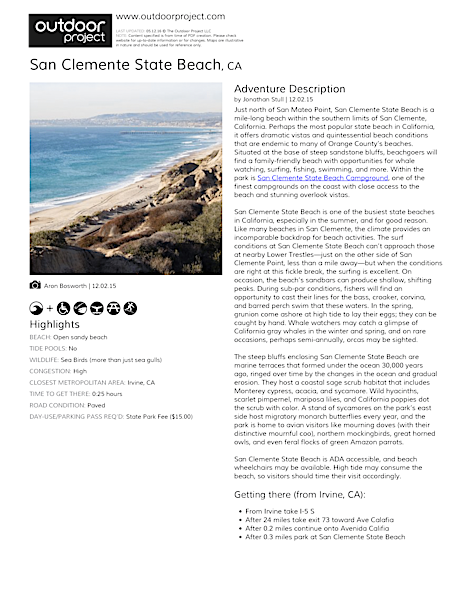 San Clemente State Beach Field Guide