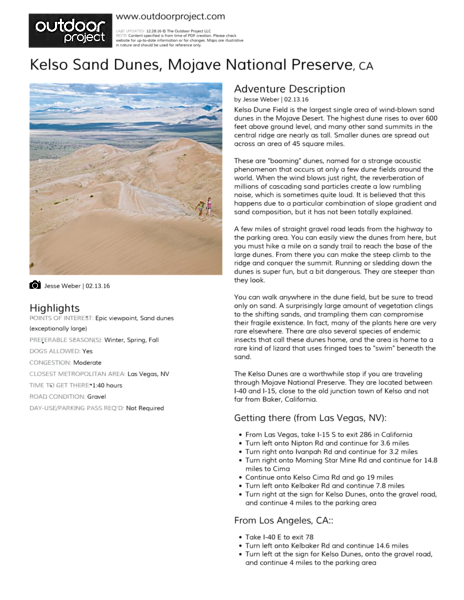 Kelso Sand Dunes Field Guide