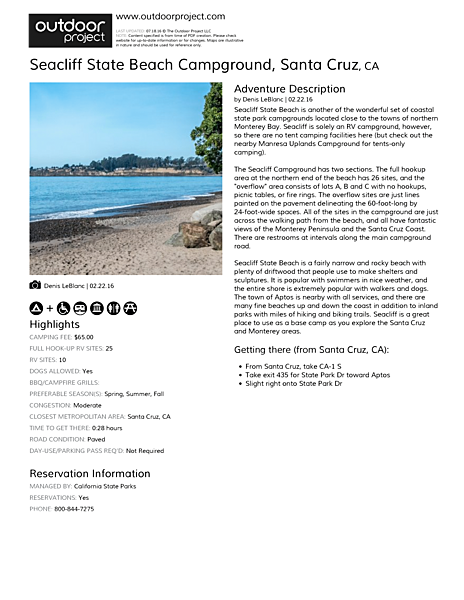 Seacliff State Beach Campground Field Guide