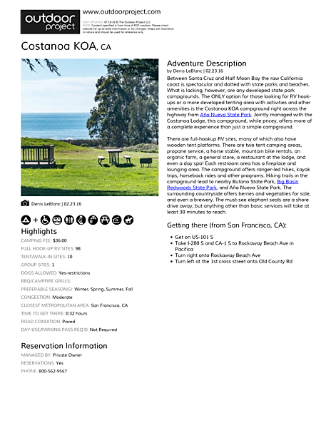 Costanoa KOA Field Guide