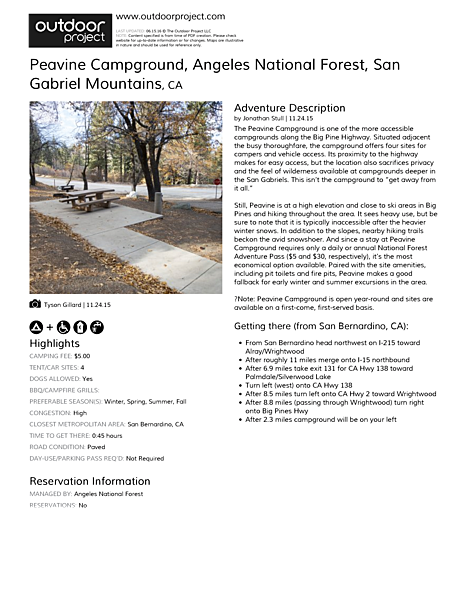 Peavine Campground Field Guide