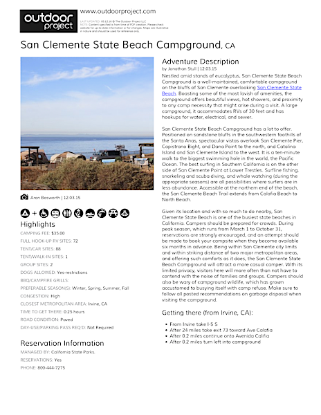 San Clemente State Beach Campground Field Guide