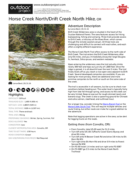 Horse Creek North/Drift Creek North Hike Field Guide