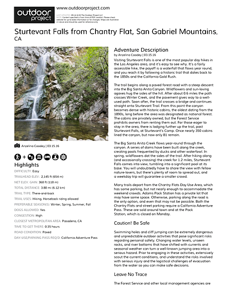 Sturtevant Falls from Chantry Flat Field Guide