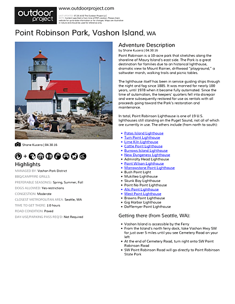 Point Robinson Park Field Guide