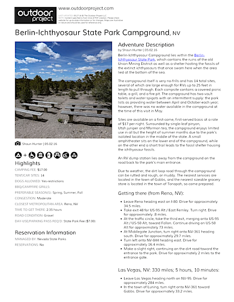 Berlin-Ichthyosaur State Park Campground Field Guide