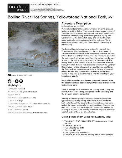 Boiling River Hot Springs Field Guide