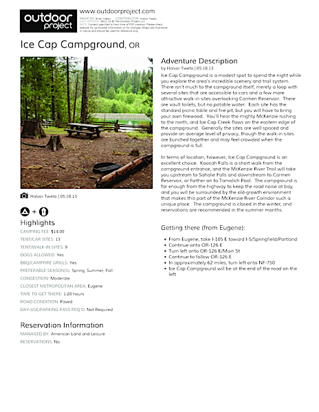 Ice Cap Campground Field Guide