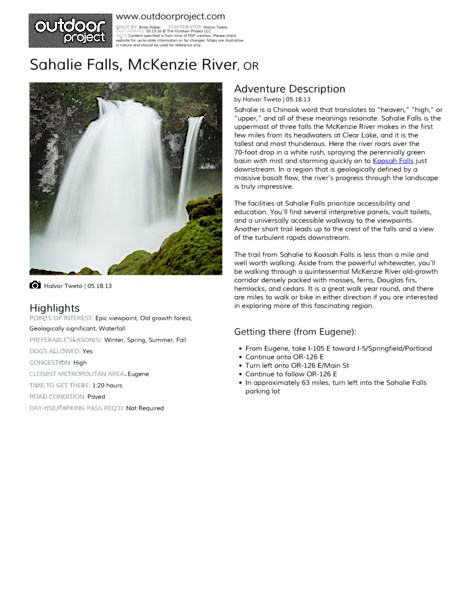 Sahalie Falls Field Guide