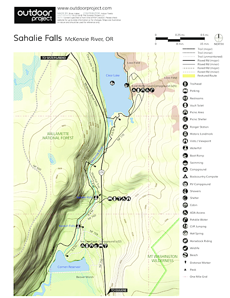 Sahalie Falls Map