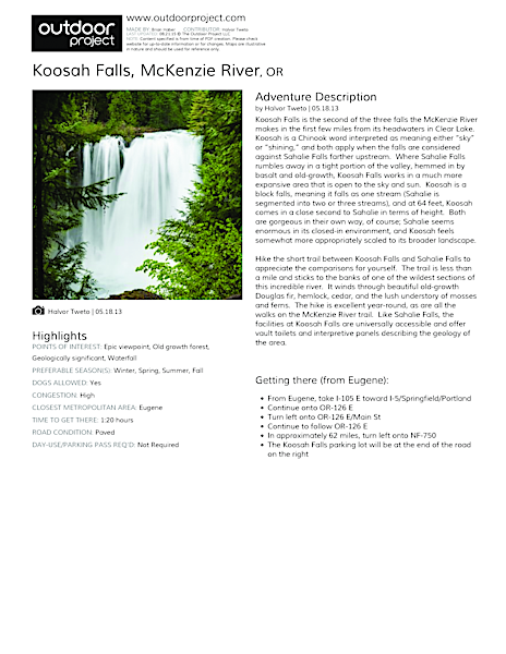 Koosah Falls Field Guide