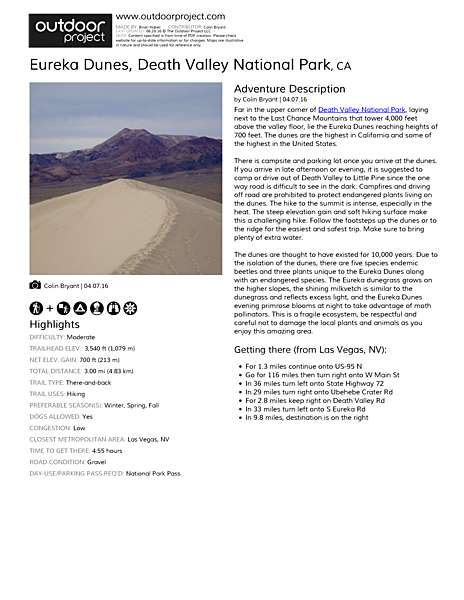 Eureka Dunes Field Guide