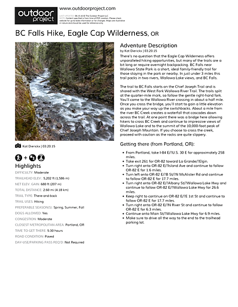 BC Falls Hike Field Guide