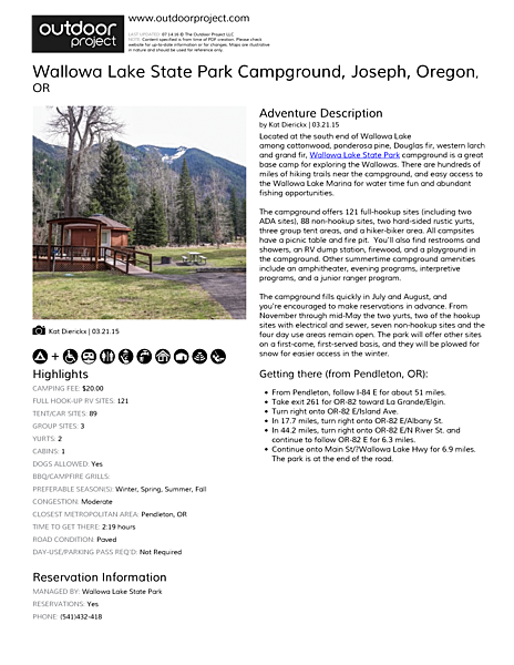 Wallowa Lake State Park Campground Field Guide